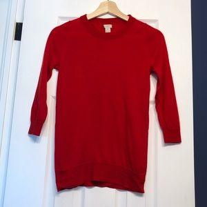 J Crew Merino Wool Sweater. Bright red, XS